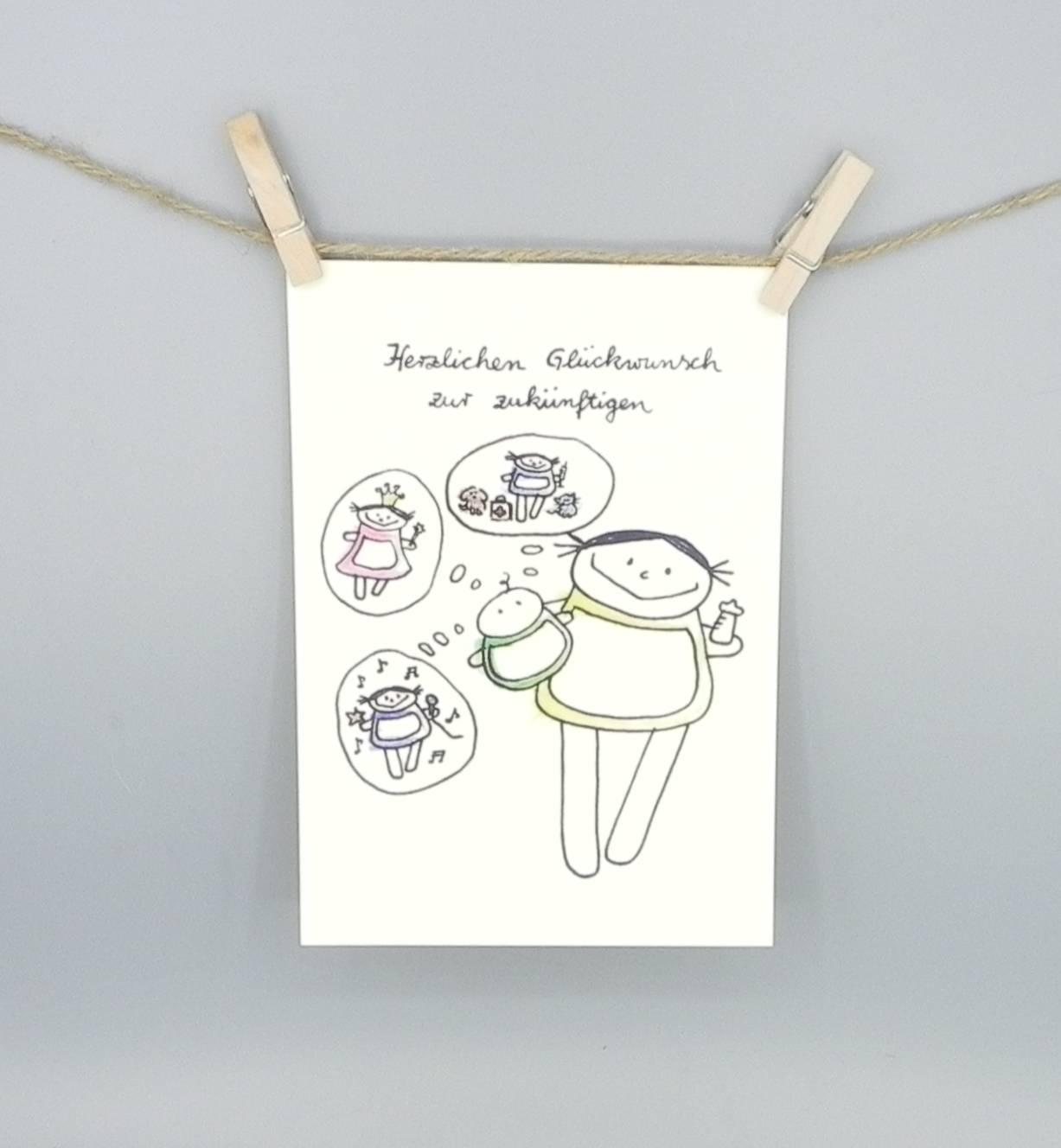 Glückwunsch Zur Geburt Postkarte Für Mädchen
