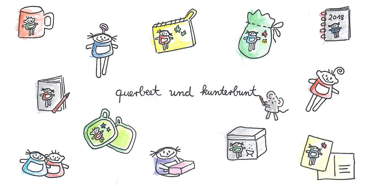nini san querbeet und kuntrbunt mit diversen kleinen Zeichnungen von nini san Produkten