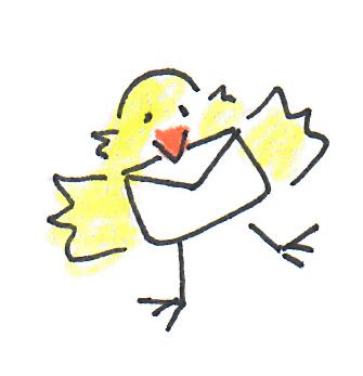 Vogel hält einen Briefumschlag im Schnabel
