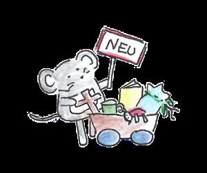 nini san Maus haält ein Schild mit neu und einen Bollerwagen mit Neuware