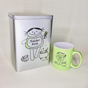 Kräuterhexe Teedose und Tasse